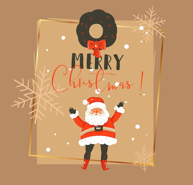 손으로 그린 메리 크리스마스와 새 해 복 많이 받으세요 시간 빈티지 만화 일러스트 인사말 카드 서식 파일 산타 클로스, 미 슬 토 화 환 및 절연 인쇄 술 프리미엄 벡터