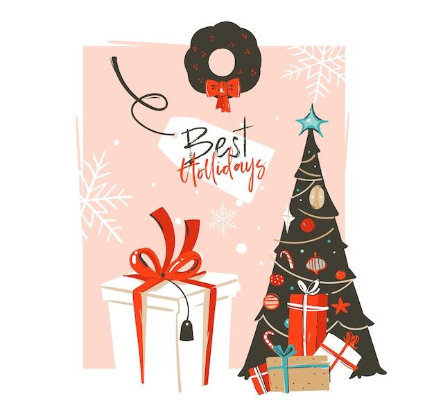 손으로 그린 메리 크리스마스와 새 해 복 많이 받으세요 시간 빈티지 만화 일러스트 인사말 카드 서식 파일 크리스마스 트리, 선물 상자 및 절연 타이포그래피 텍스트 프리미엄 벡터