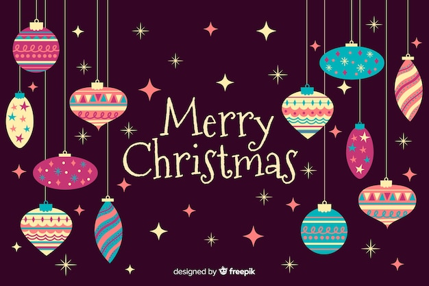 Hand drawn merry christmas background Free Vector