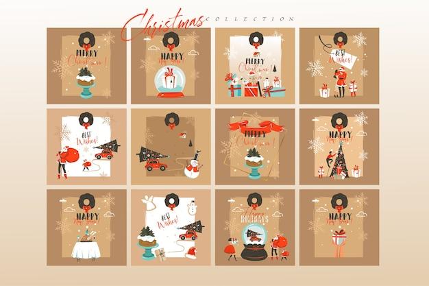 手描きのメリークリスマス漫画イラストカードと背景の大きなコレクションセット Premiumベクター
