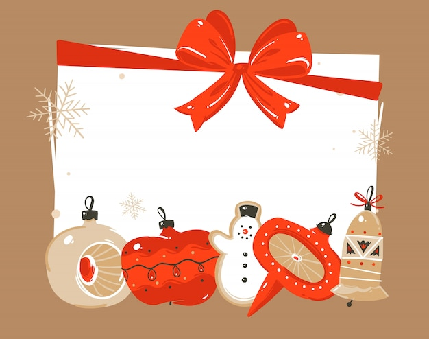Hand drawn   merry christmas and happy new year time coon illustrations greeting header template with xmas tree bauble toys and place for your text  on white background Premium Vector