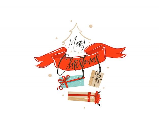 Вручите вычерченную с рождеством христовым карточку иллюстрации приветствию шаржа времени покупок с много подарочных коробок сюрприза, красной ленты и рукописной каллиграфии на белой предпосылке. Premium векторы