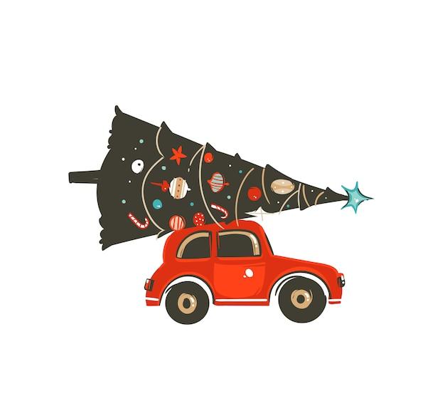 手が白い背景の赤い車とクリスマスツリーとメリークリスマス時間あらいくまアイコンイラスト要素を描画 Premiumベクター