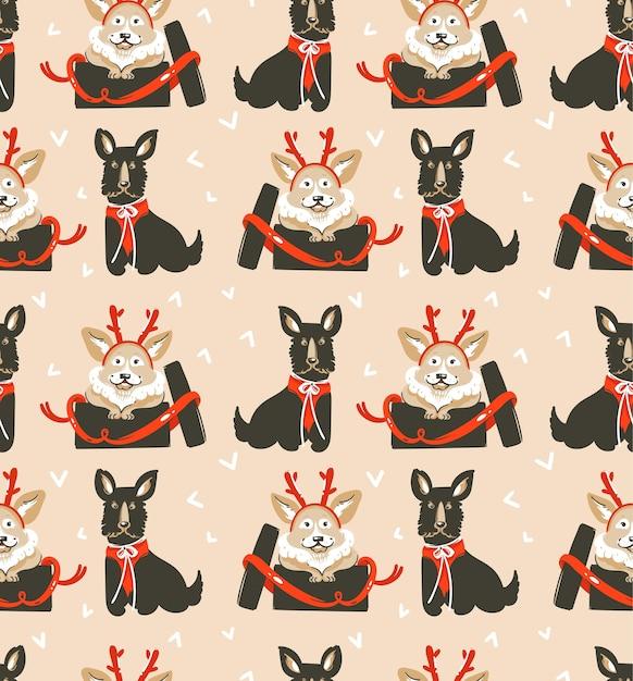 Ручной обращается счастливого рождества бесшовные модели с милыми забавными собаками Premium векторы