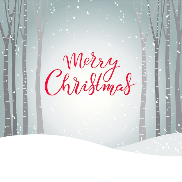 Hand drawn merry christmas typography lettering poster Premium Vector