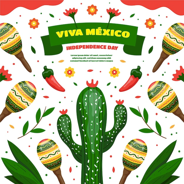 Hand drawn mexic independence day concept Free Vector