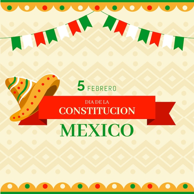 Evento del giorno della costituzione messicana disegnata a mano Vettore gratuito