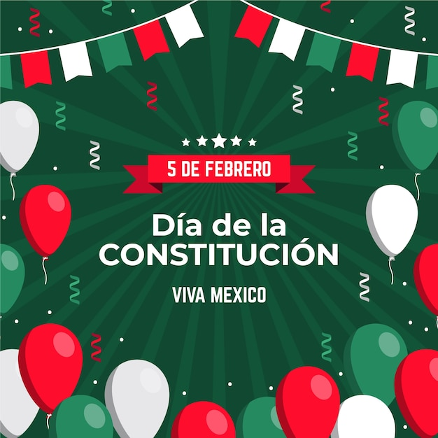 Hand drawn mexican constitution day with balloons Free Vector