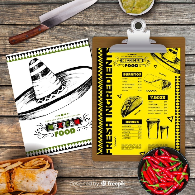 Hand drawn mexican food menu Free Vector
