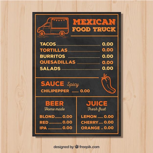 Hand drawn mexican food truck menu