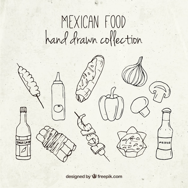 Hand drawn mexican foodstuffs Free Vector