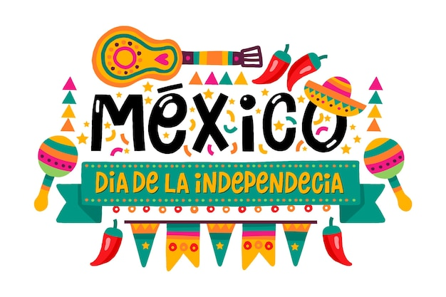 Hand drawn mexican independence day Free Vector