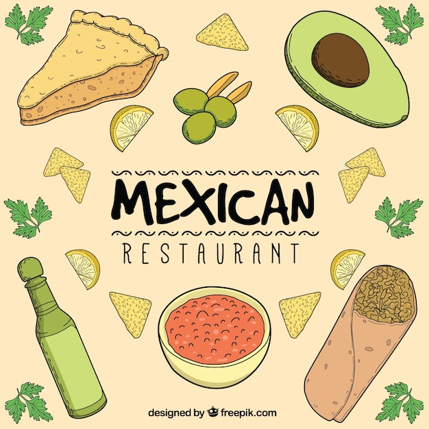 Hand drawn mexican restaurant composition Free Vector