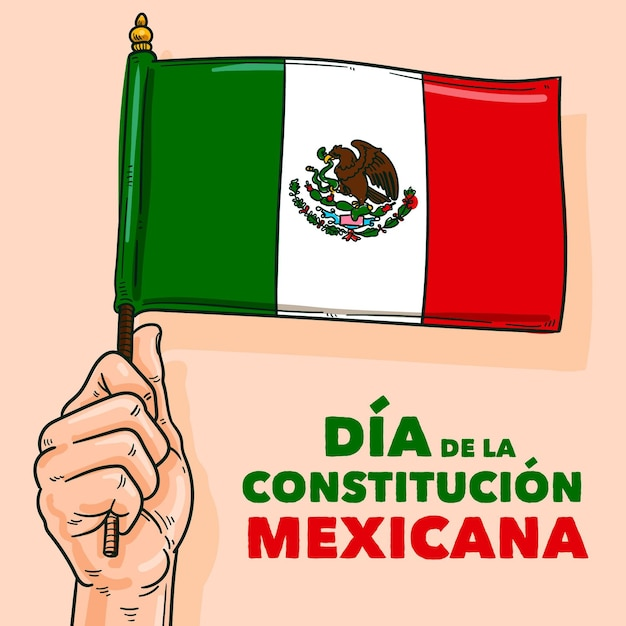 Hand drawn mexico constitution day Free Vector