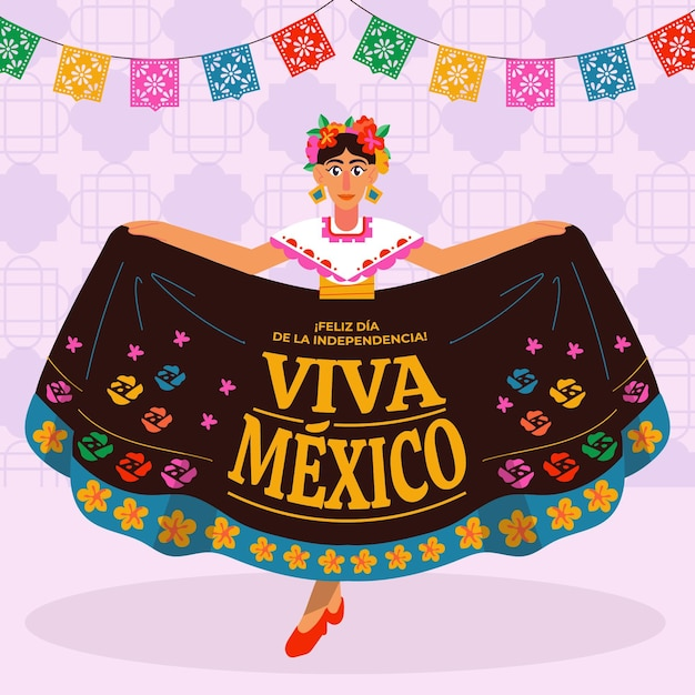 Hand drawn mexico independence day Free Vector