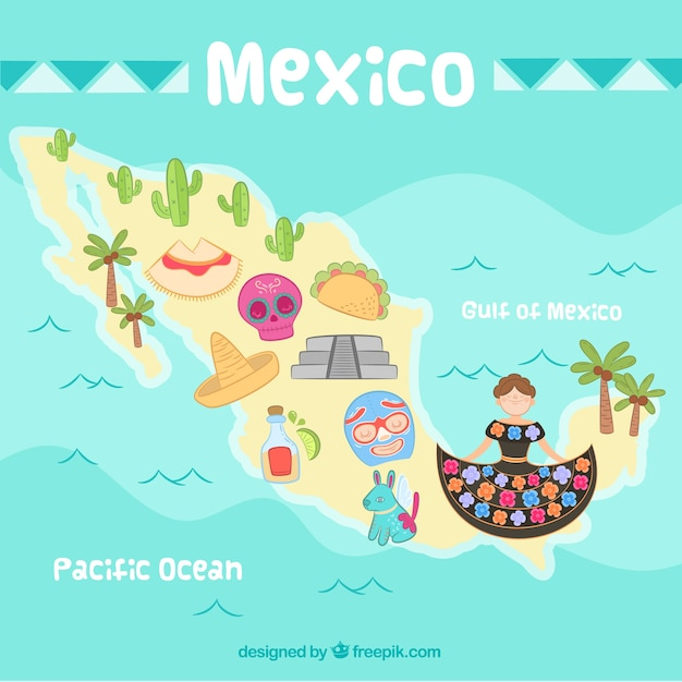 Hand drawn mexico map background Free Vector