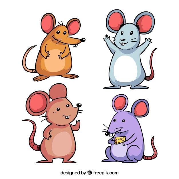 Коллекция ручных мышей Бесплатные векторы