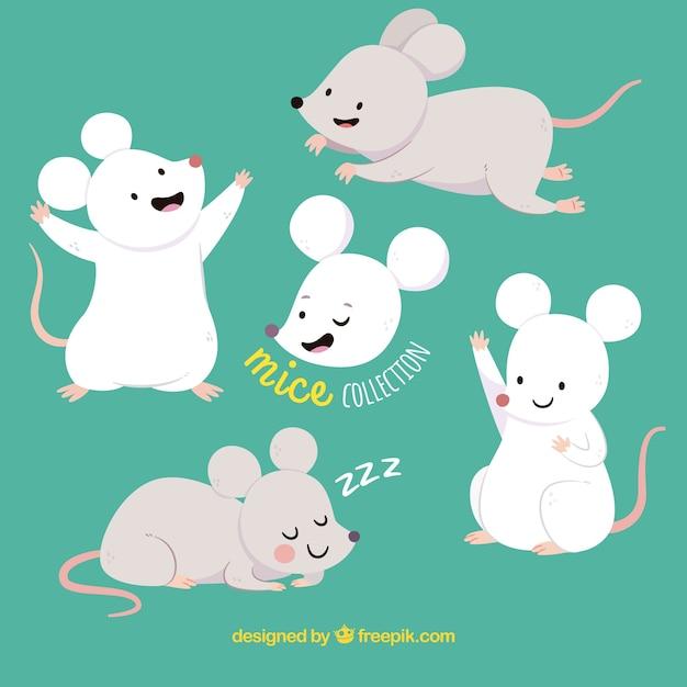 Коллекция ручных мышей Premium векторы
