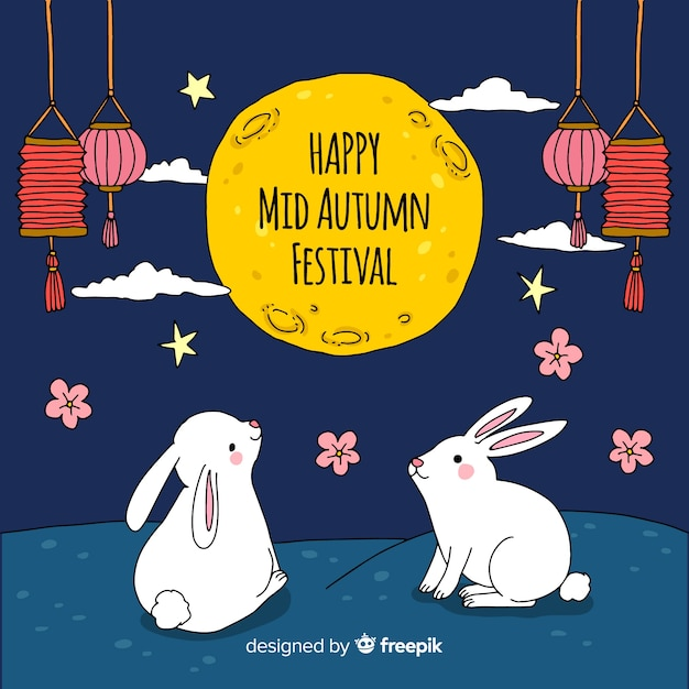 Hand drawn mid autumn festival background Free Vector