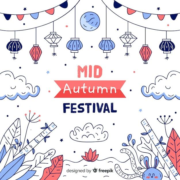 Hand drawn mid autumn festival Free Vector