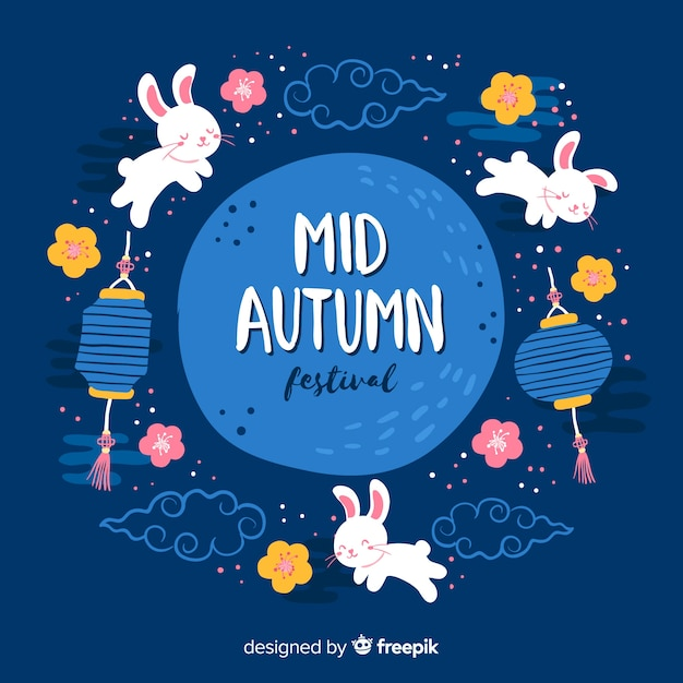 Hand drawn mid autumn festival Free Vector