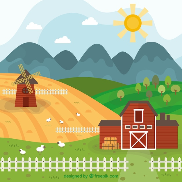 Hand Drawn Mill And Farm Landscape With Fence Free Vector
