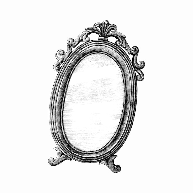 Hand drawn mirror isolated on white background Premium Vector
