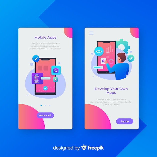Hand drawn mobile app banner template Free Vector