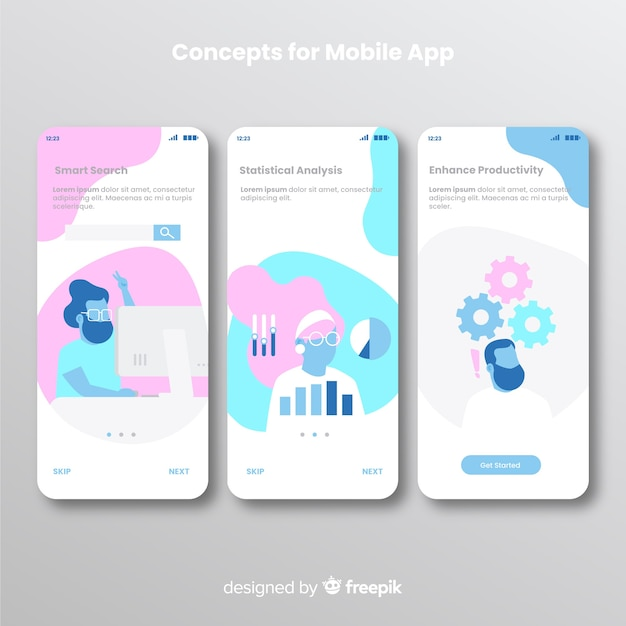Hand drawn mobile app banner Free Vector