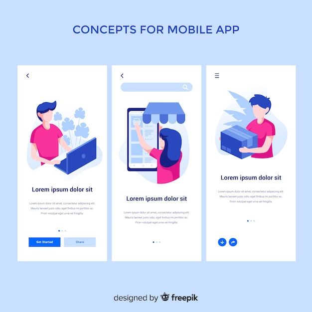 Hand drawn mobile app concept Free Vector