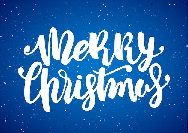 손으로 파란색 눈송이 배경에 메리 크리스마스의 현대 브러시 글자를 그려. 프리미엄 벡터