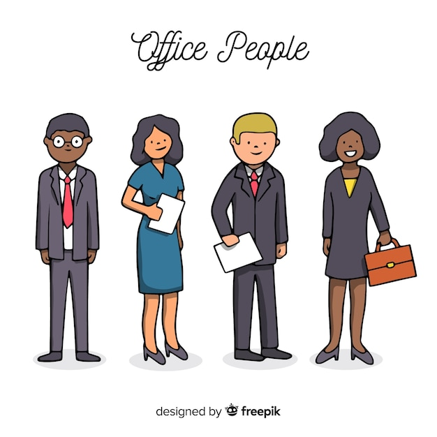 Hand drawn modern business people Free Vector