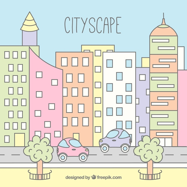 Hand drawn modern city background in pastel\ colors