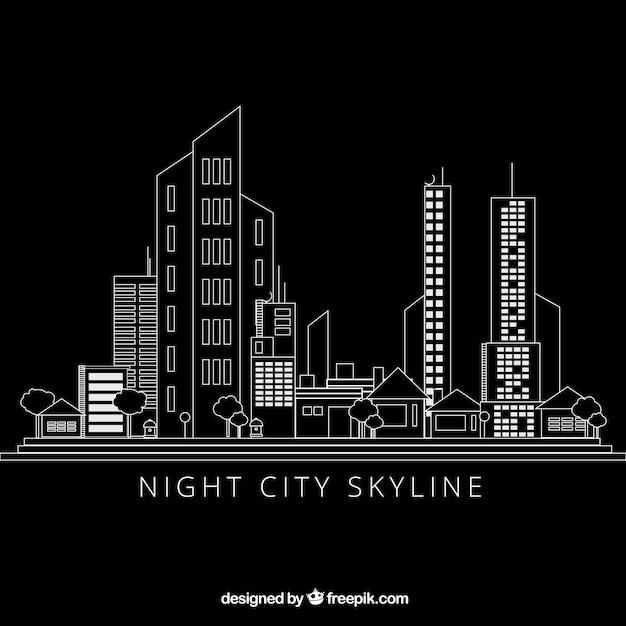 Hand drawn modern city black background