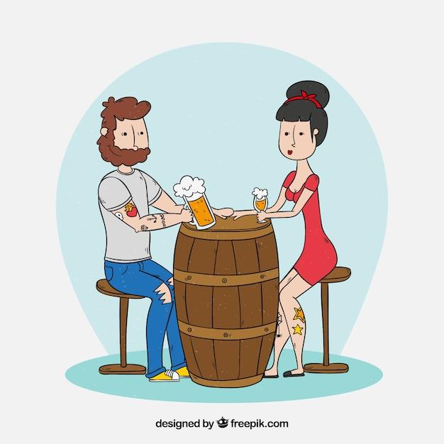 Mano disegnata moderna birra bevendo coppia Vettore gratuito