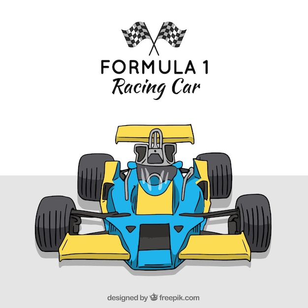 Hand drawn modern formula 1 racing car Free Vector