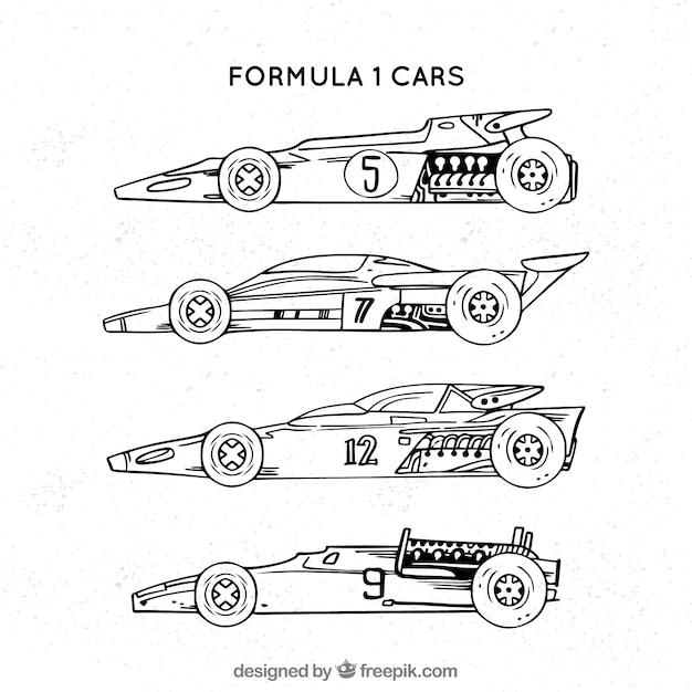 Free Vector Hand Drawn Modern Formula 1 Racing Car