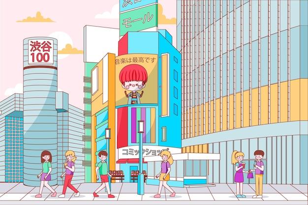 Hand drawn modern japan street Free Vector