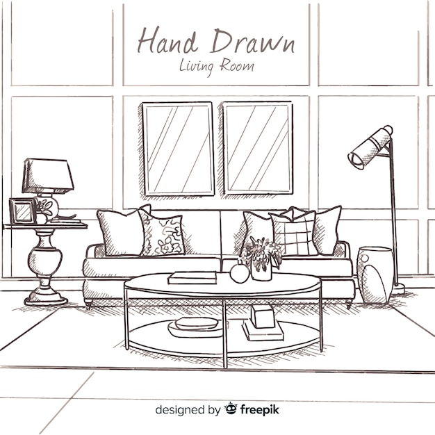 Hand drawn modern living room Free Vector
