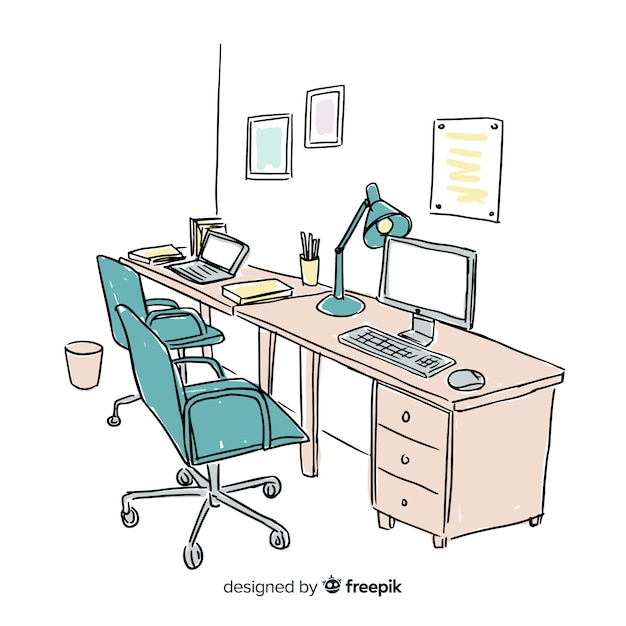 Hand drawn modern office interior Free Vector