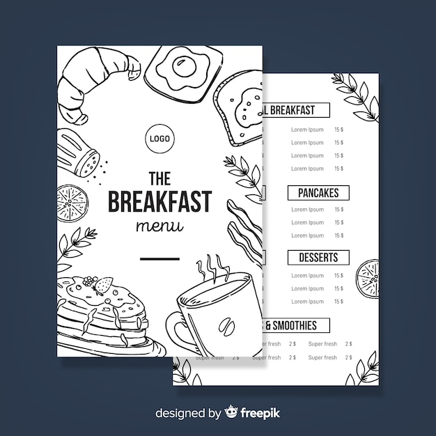 Hand drawn modern restaurant menu template Free Vector
