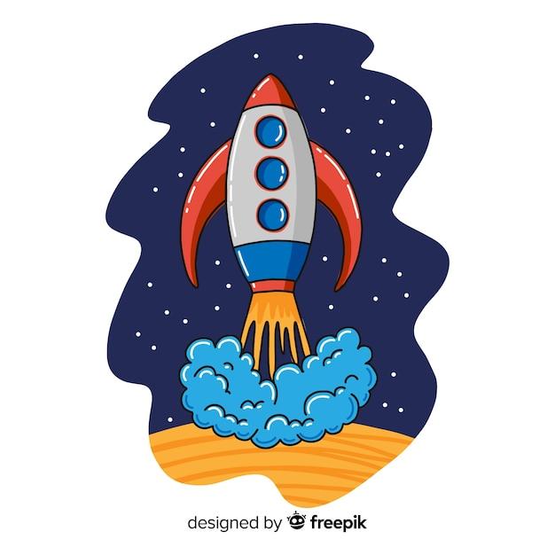Hand drawn modern space rocket Free Vector