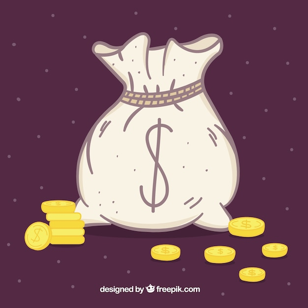 Hand drawn money background with coins