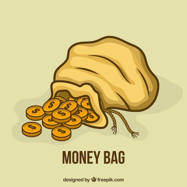 Hand drawn money bag background