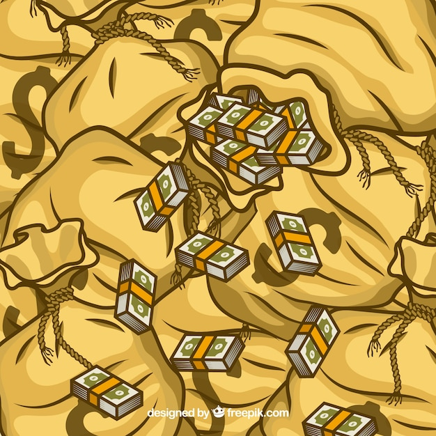 Hand drawn money bags background