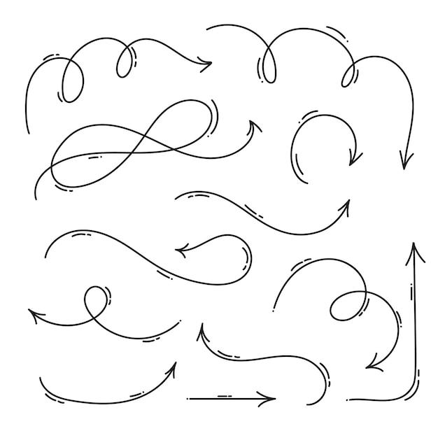 Hand drawn monoline arrow set Premium Vector