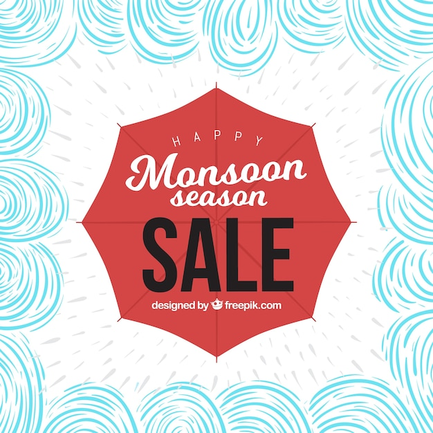 Hand drawn monsoon sale composition Free Vector