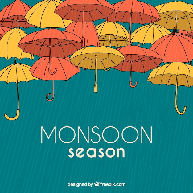 Hand drawn monsoon season composition Free Vector
