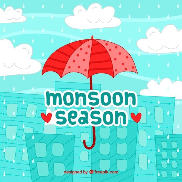 Hand drawn monsoon season composition