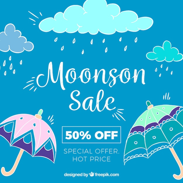 Hand drawn monsoon season sale composition Free Vector